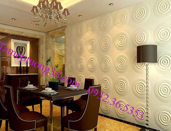 Vật liệu trang trí 3d nội thất phòng khách hình tròn Cricle
